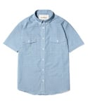 ONE POCKET SHORT SLEEVE CHECK SHIRT [BLUE]