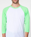 POLY COTTON 3/4 SLEEVE RAGLAN SHIRT WHITE&NEON GREEN