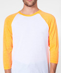 POLY COTTON 3/4 SLEEVE RAGLAN SHIRT WHITE&NEON HEATHERORANGE