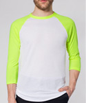 POLY COTTON 3/4 SLEEVE RAGLAN SHIRT WHITE&NEON YELLOW