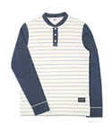 마치위드(MARCHWITH) STRIPE HENLEY NECK SWEAT SHIRTS NAVY
