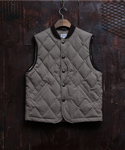 WAXED COTTON DOWN HUNTING VEST KHAKI