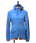 BUTTON THROUGH KNIT HOODY ELECTRIC BLUE COTTON (SP12 #014)