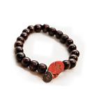 Dark Brown Wood/Red Stone Bracelet