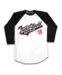 리쿼브랜드(LIQUOR BRAND) FUCK THE WORLD WHITE RAGLAN 3/4 MEN