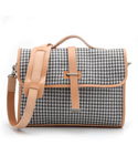 MV WOOL FABRIC SACHEL BAG - (Hound Tooth)