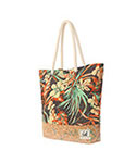 CORK TOTE BLACK FLOWER