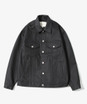 "Trench Waxed Denim Jacket ""Black"""
