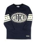 마치위드(MARCHWITH) WILD CHILD FOOTBALL TEE NAVY