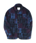 FLANNEL PATCHWORK CHORE JACKET PURPLE&NAVY