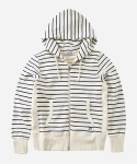 2WAY ZIPUP SWEAT STRIPE HOODIE WHITE