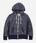2WAY ZIPUP SWEAT STRIPE HOODIE NAVY