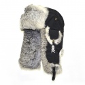 SKULL BOMBER black w/Grey Fur
