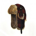 WOOL BOMBER maroon plaid w/Brown Fur