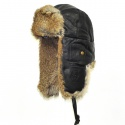 매드범버(MAD BOMBER) LEATHER BOMBER black w/Brown Fur