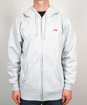 BAR LOGO ZIP HOOD HEATHER GREY