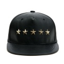 AGUSFIN FIVE STAR LEATHER 5PANNEL SNAPBACK (BLACK)