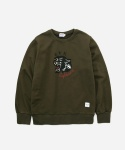 CREWNECK SWEAT SHIRTS BLACK LEOPARD OLIVE