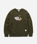CREWNECK SWEAT SHIRTS CAR CRASH OLIVE