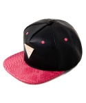 GRAIN LEATHER WITH SNAKE PINK BRIM SNAPBACK