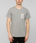 CAMPUS S/S HENLEY S/S KNIT HEATHER GREY