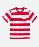 S/S STRIPE POCKET T-SHIRTS RED
