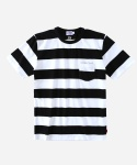 S/S STRIPE POCKET T-SHIRTS BLACK