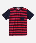 S/S MIXED STRIPE POCKET T-SHIRTS RED/NAVY