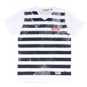 UMR 05 damage stripe v neck t-shirts_white(남여공용)