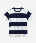 S/S BORDER POECKET T-SHIRTS WHITE/NAVY