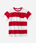 S/S BORDER POECKET T-SHIRTS WHITE/RED