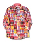 마치위드(MARCHWITH) 3/4 CRAZY PATCHWORK SHIRTS RED&ORANGE