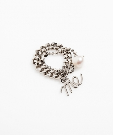 [usual M.E] thin chain & ball chain layered rings (실버색상)