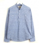 Blue Linen Henry neck Shirts