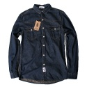 윈디플로어(WINDY FLOOR) basic poket denim shirt (deep blue)