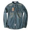 윈디플로어(WINDY FLOOR) basic poket denim shirt (green blue)
