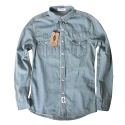 윈디플로어(WINDY FLOOR) basic poket denim shirt (light blue)