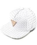 White Leather Intrecciato Snapback