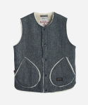 HARRIS TWEED BOA VEST GRAY