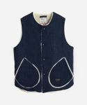HARRIS TWEED BOA VEST NAVY