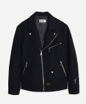 COTTON DOUBLE RIDERS JACKET BLACK