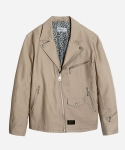 COTTON DOUBLE RIDERS JACKET BEIGE
