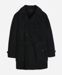 C/N TWILL TRENCH COAT BLACK