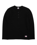 모노마일 LONG SLEEVE HENLEY NECK T-SHIRT (BLACK)