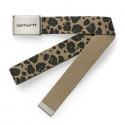 Clip Belt Chrome Leopard Print Leather