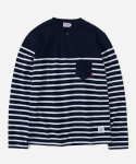 STRIPE HENLEYNECK T-SHIRTS WHITE/NAVY