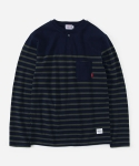 STRIPE HENLEYNECK T-SHIRTS NAVY/GREEN