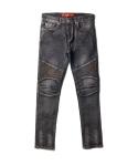 W_biker washing jean  -black-