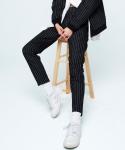 pin-stripe pants black