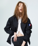 pin-stripe blouson black